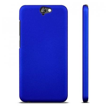 Husa HTC One A9 plastic cauciucat - albastru2