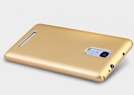 Husa plastic cauciucat Xiaomi Redmi Note 3 - gold3
