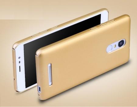Husa plastic cauciucat Xiaomi Redmi Note 3 - gold2