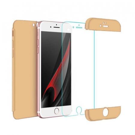 Husa   protectie 360 grade folie sticla inclusa iPhone 7 / iPhone 8 - gold1