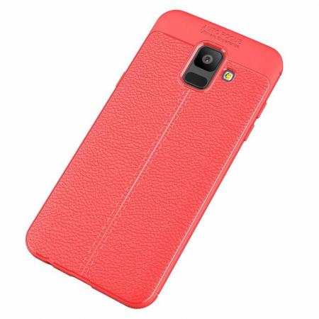 Husa  Samsung Galaxy A6 (2018) - Silicon Tpu Brused Grain - rosu1
