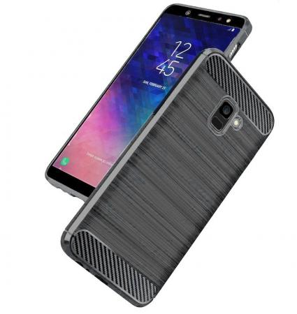 Husa Samsung  Galaxy A6 Plus (2018) - Tpu Carbon Fibre Brushed - gri3