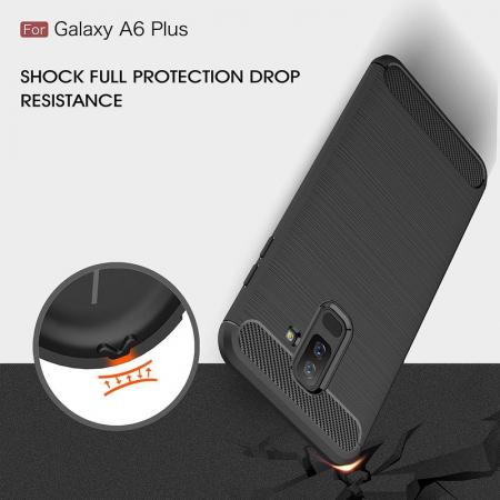 Husa Samsung  Galaxy A6 Plus (2018) - Tpu Carbon Fibre Brushed - gri5