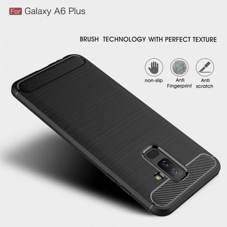 Husa Samsung  Galaxy A6 Plus (2018) - Tpu Carbon Fibre Brushed - gri6