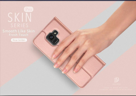 Husa  Samsung Galaxy A8 (2018) - Dux Ducis din piele eco - rose gold6