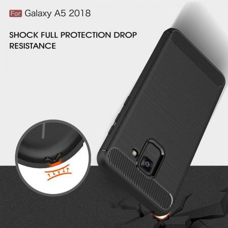 Husa Samsung  Galaxy A8 (2018) - Tpu Carbon Fibre Brushed - gri5