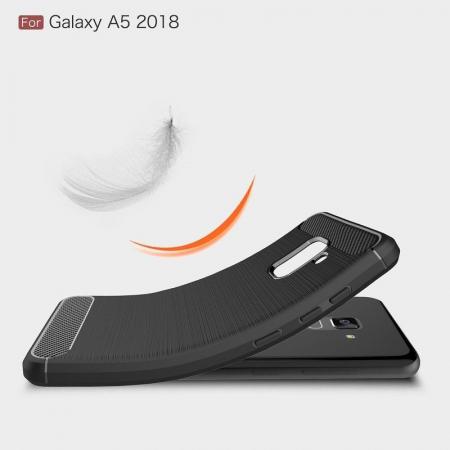 Husa Samsung  Galaxy A8 (2018) - Tpu Carbon Fibre Brushed - gri3