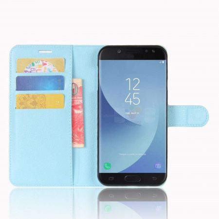 Husa Samsung Galaxy J5 2017 - Crazy Horse din piele eco - albastru3