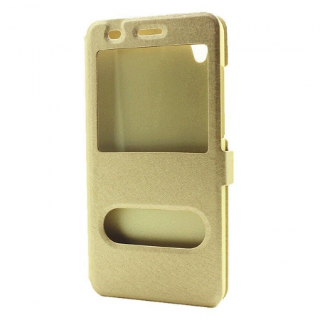 Husa Silk Window stil carte Huawei Y6II - gold1