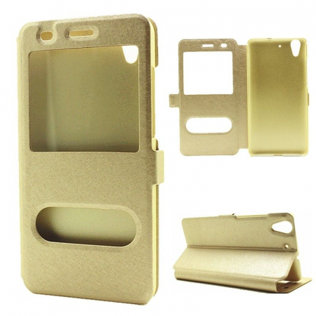 Husa Silk Window stil carte Huawei Y6II - gold0