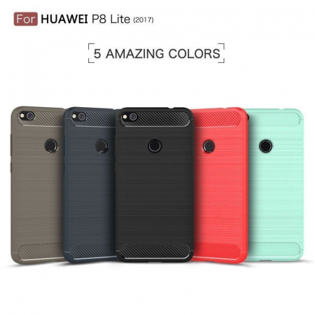 Husa  Huawei P9 lite (2017) / P8 Lite (2017) Tpu Carbon Fibre Brushed - rosu10