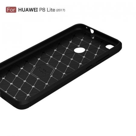 Husa  Huawei P9 lite (2017) / P8 Lite (2017) Tpu Carbon Fibre Brushed - rosu5