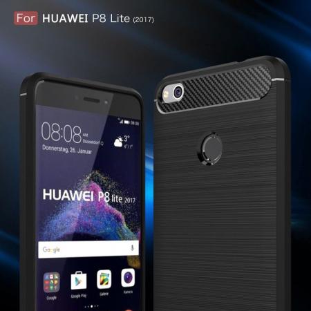 Husa  Huawei P9 lite (2017) / P8 Lite (2017) Tpu Carbon Fibre Brushed - rosu3