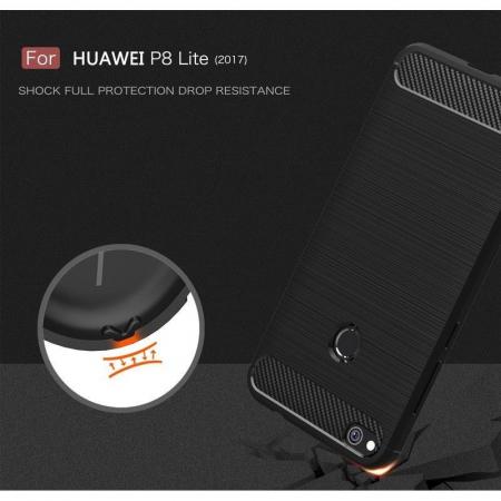 Husa  Huawei P9 lite (2017) / P8 Lite (2017) Tpu Carbon Fibre Brushed - rosu6
