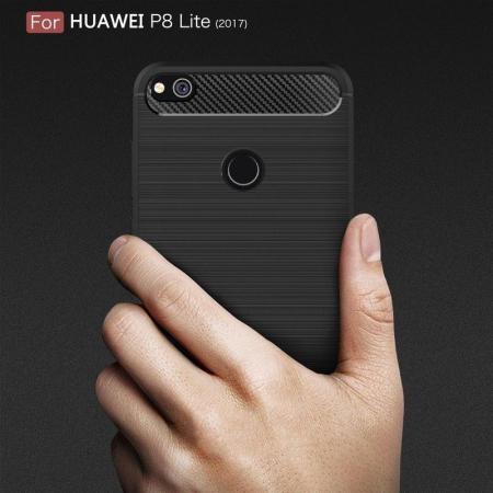 Husa  Huawei P9 lite (2017) / P8 Lite (2017) Tpu Carbon Fibre Brushed - rosu8
