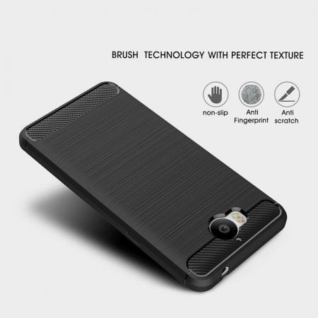 Husa  Huawei Y6 2017 Tpu Carbon Fibre Brushed - rosu6