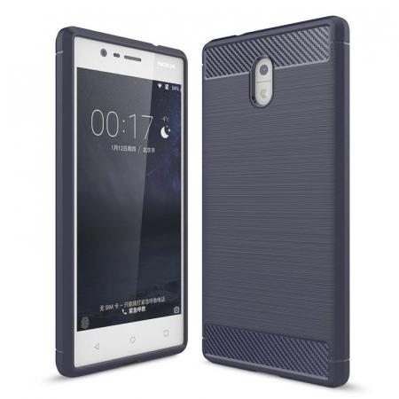 Husa  Nokia 3 Tpu Carbon Fibre Brushed - albastru [0]