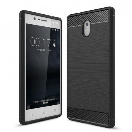 Husa   Nokia 3 Tpu Carbon Fibre Brushed - negru0