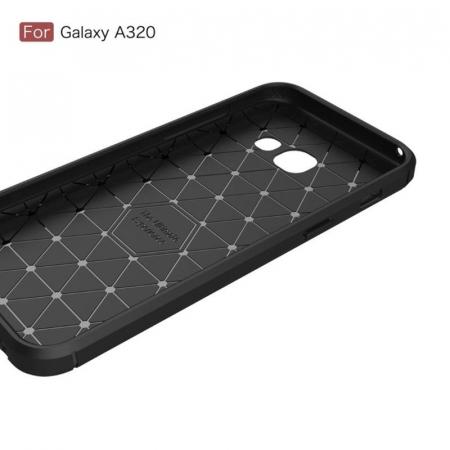 Husa Tpu Carbon Fibre Brushed Samsung Galaxy A3 2017 (A320) - rosu4