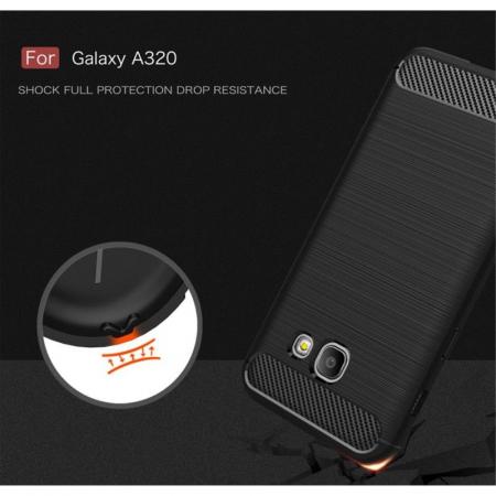 Husa Tpu Carbon Fibre Brushed Samsung Galaxy A3 2017 (A320) - rosu6