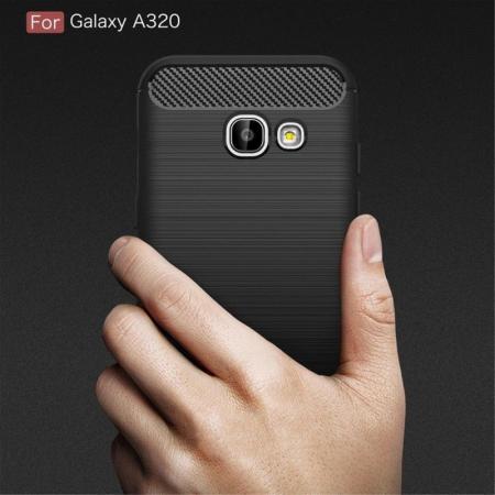 Husa Tpu Carbon Fibre Brushed Samsung Galaxy A3 2017 (A320) - rosu9