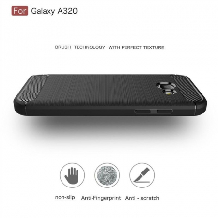 Husa Tpu Carbon Fibre Brushed Samsung Galaxy A3 2017 (A320) - rosu2