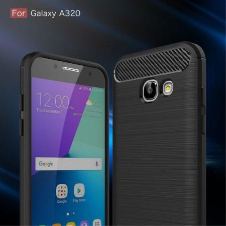 Husa Tpu Carbon Fibre Brushed Samsung Galaxy A3 2017 (A320) - rosu3