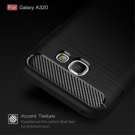 Husa Tpu Carbon Fibre Brushed Samsung Galaxy A3 2017 (A320) - rosu5