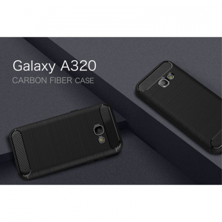 Husa Tpu Carbon Fibre Brushed Samsung Galaxy A3 2017 (A320) - negru2
