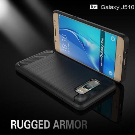 Husa  Samsung Galaxy J5 2016 Carbon Fibre Brushed Tpu - rosu1