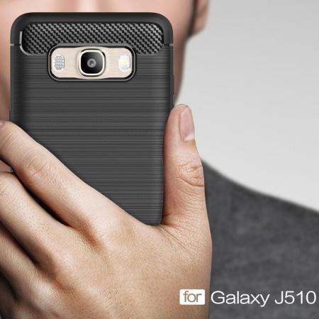 Husa  Samsung Galaxy J5 2016 Carbon Fibre Brushed Tpu - rosu7