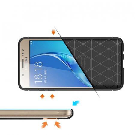 Husa  Samsung Galaxy J5 2016 Carbon Fibre Brushed Tpu - rosu6
