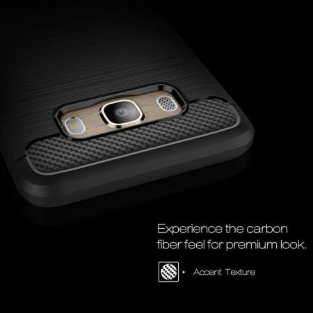 Husa  Samsung Galaxy J5 2016 Carbon Fibre Brushed Tpu - rosu2