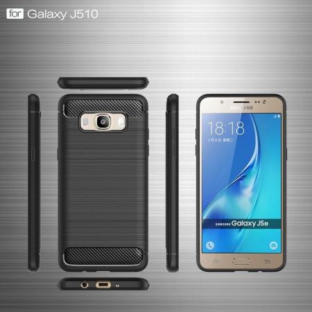 Husa  Samsung Galaxy J5 2016 Carbon Fibre Brushed Tpu - rosu5