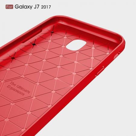 Husa  Samsung Galaxy J7 2017 Tpu Carbon Fibre Brushed - rosu2