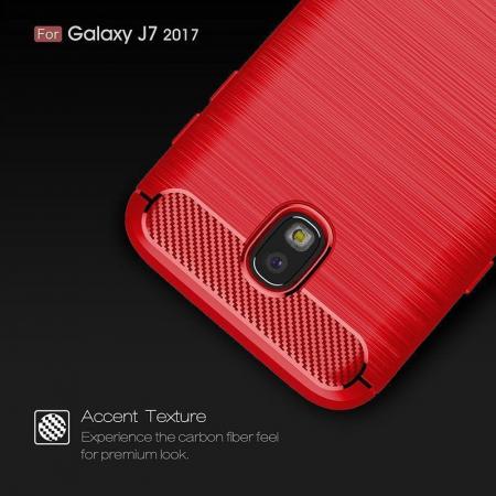 Husa  Samsung Galaxy J7 2017 Tpu Carbon Fibre Brushed - rosu3
