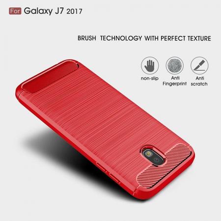 Husa  Samsung Galaxy J7 2017 Tpu Carbon Fibre Brushed - rosu4