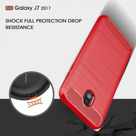Husa  Samsung Galaxy J7 2017 Tpu Carbon Fibre Brushed - rosu5