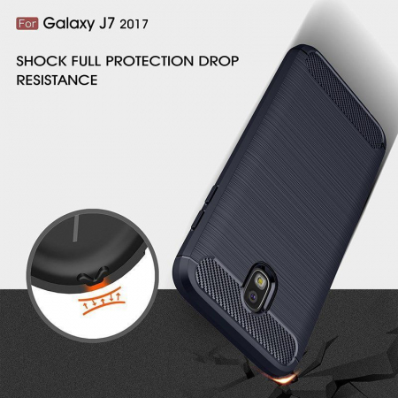 Husa  Samsung Galaxy J7 2017 Tpu Carbon Fibre Brushed - albastru7