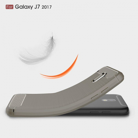Husa  Samsung Galaxy J7 2017 Tpu Carbon Fibre Brushed - gri1