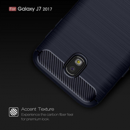 Husa  Samsung Galaxy J7 2017 Tpu Carbon Fibre Brushed - albastru8