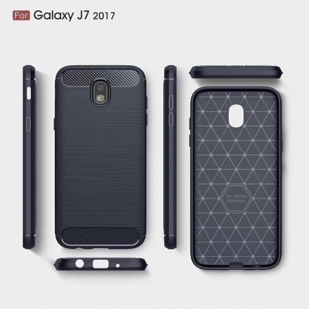Husa  Samsung Galaxy J7 2017 Tpu Carbon Fibre Brushed - albastru5