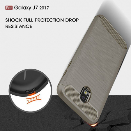 Husa  Samsung Galaxy J7 2017 Tpu Carbon Fibre Brushed - gri4