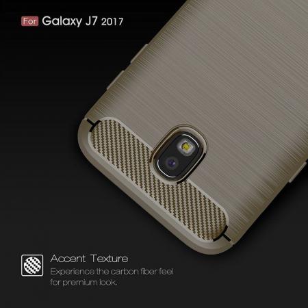 Husa  Samsung Galaxy J7 2017 Tpu Carbon Fibre Brushed - gri2