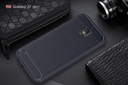 Husa  Samsung Galaxy J7 2017 Tpu Carbon Fibre Brushed - albastru6