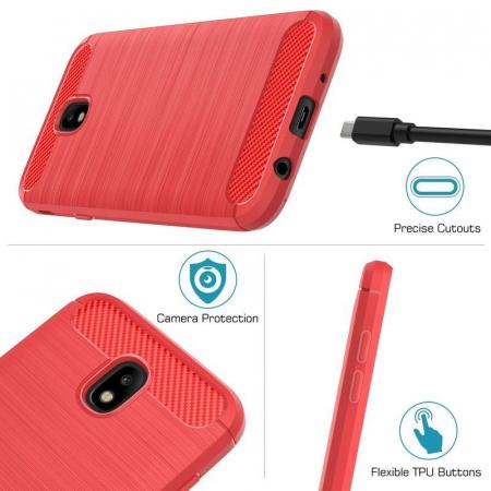 Husa  Samsung Galaxy J7 2017 Tpu Carbon Fibre Brushed - rosu8