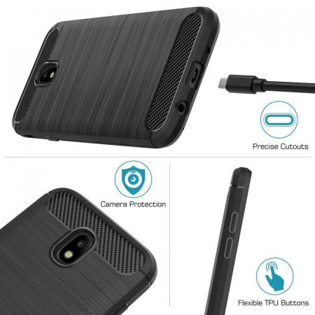Husa  Samsung Galaxy J7 2017 Tpu Carbon Fibre Brushed - gri7