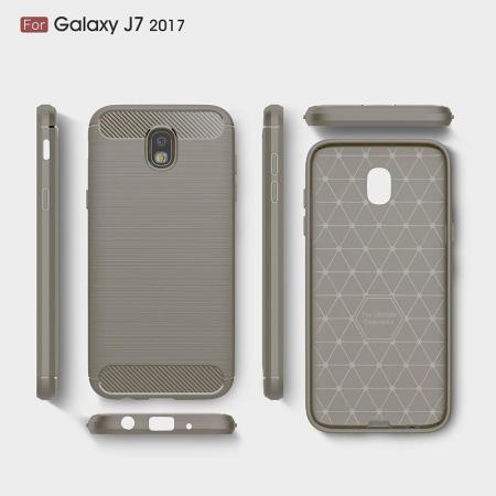Husa  Samsung Galaxy J7 2017 Tpu Carbon Fibre Brushed - gri3