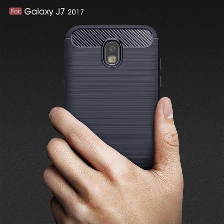 Husa  Samsung Galaxy J7 2017 Tpu Carbon Fibre Brushed - albastru9