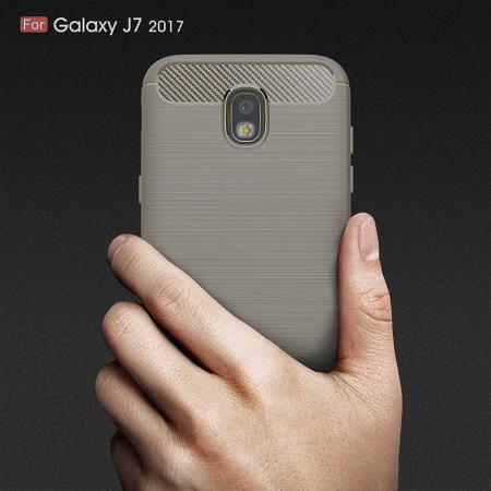 Husa  Samsung Galaxy J7 2017 Tpu Carbon Fibre Brushed - gri6